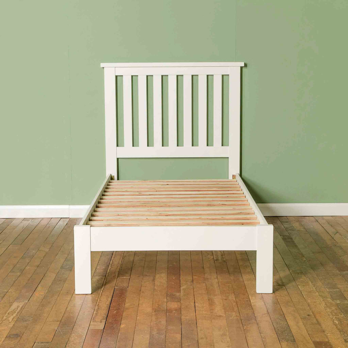 Front view of Cornish White 3 ft Single Wooden Bed Frame