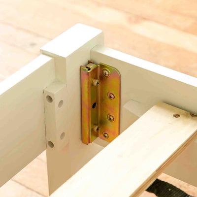 Close up of hinge on Cornish White 3 ft Single Wooden Bed Frame