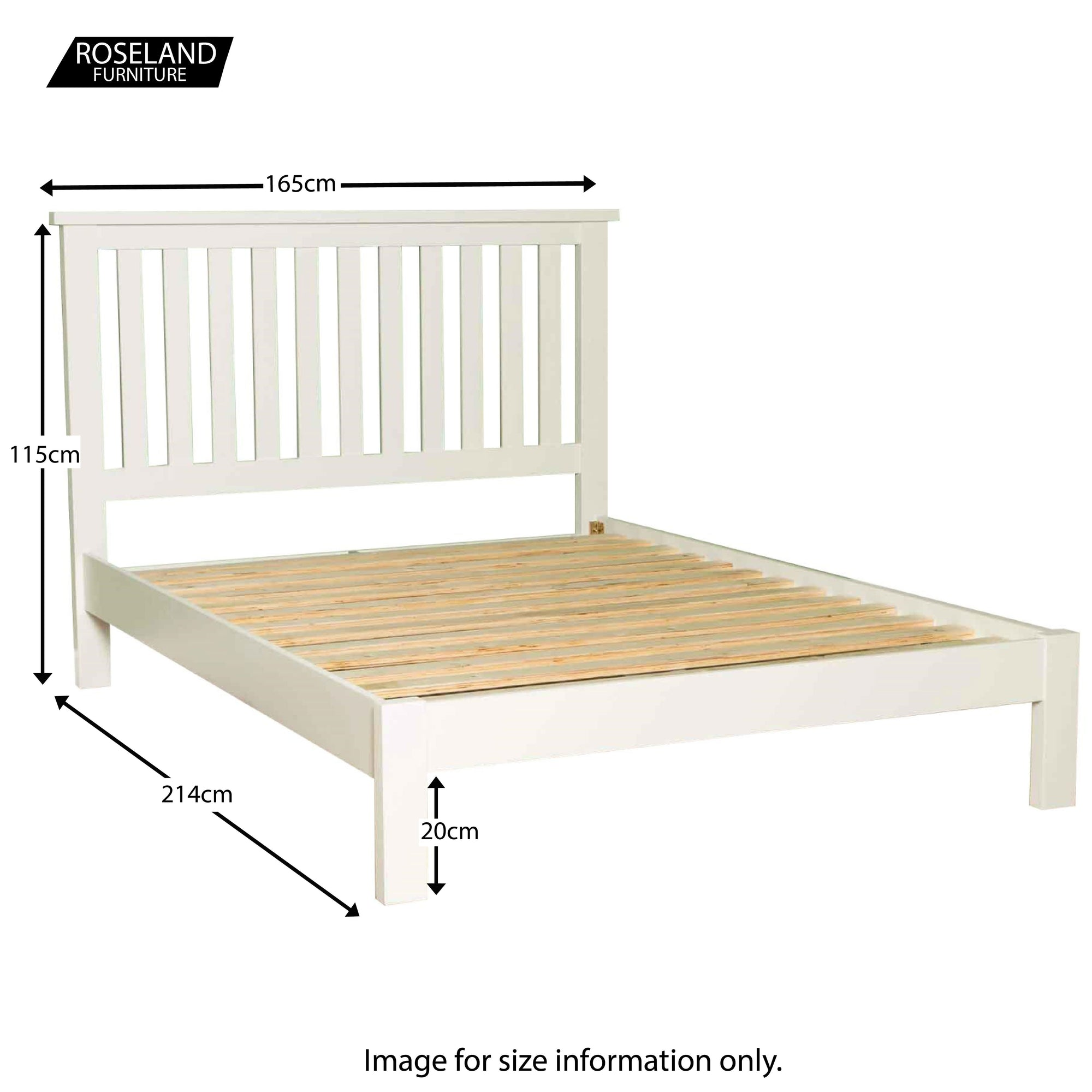 Picture of: Cornish White 5 Ft King Size Bed Solid Wood Frame Roseland Furniture