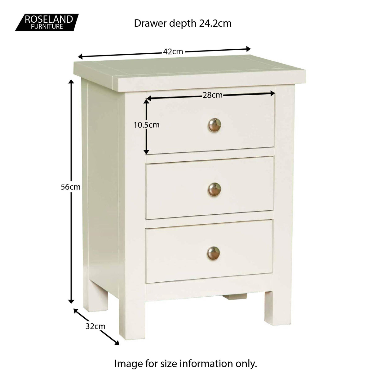 Cornish White 3 Drawer Bedside Table - Size Guide