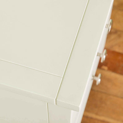Close up of top surface on The Cornish White Wooden 3 Drawer Bedside Table