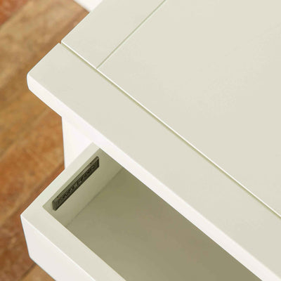 Open drawer view of The Cornish White Wooden 3 Drawer Bedside Table