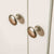 Close up of metal knobs on The Cornish White Large 3 Door Wardrobe