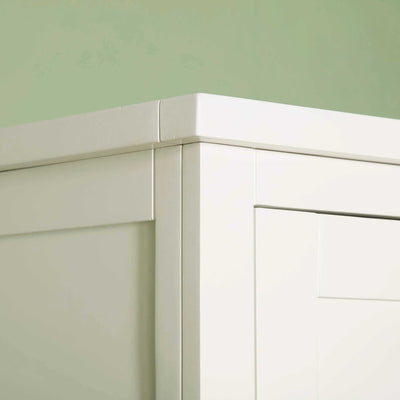 Close up of top corner on The Cornish White Large 3 Door Wardrobe