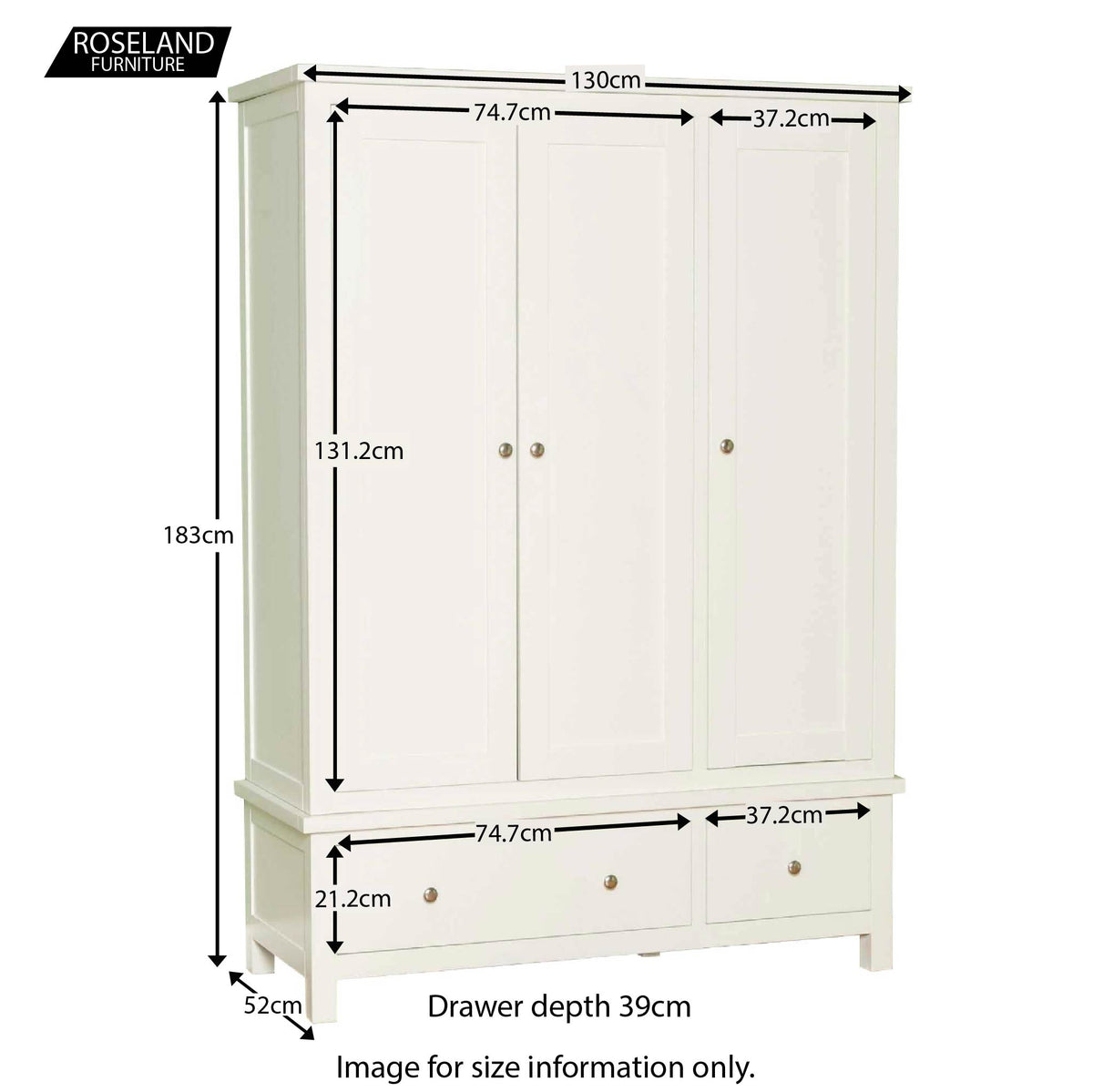 Cornish White Triple Wardrobe - Size Guide