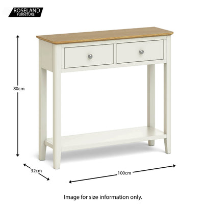 The Windsor Cream Painted Console Table size guide
