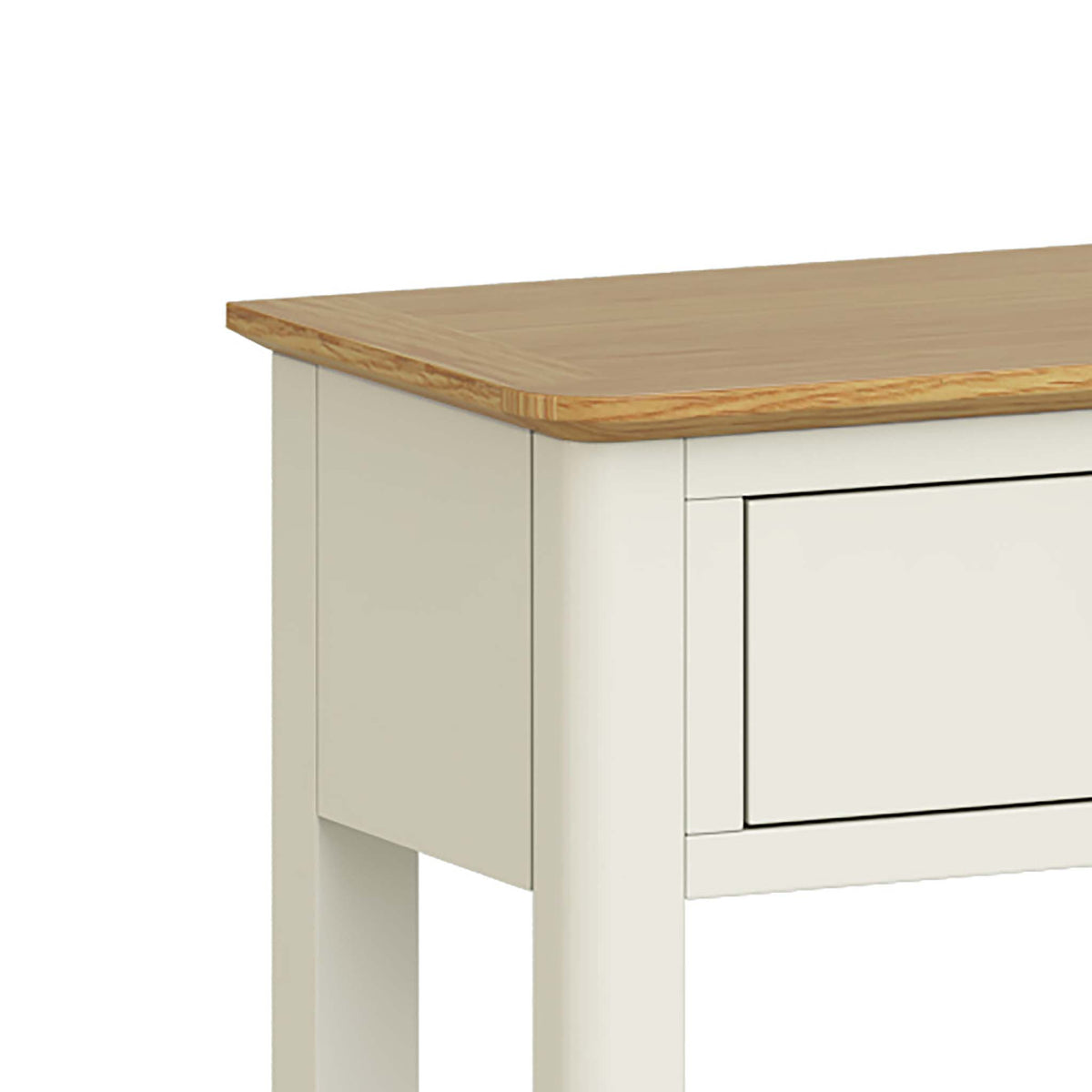 The Windsor Cream Painted Console Table with Storage Drawers - Close Up of Oak Top