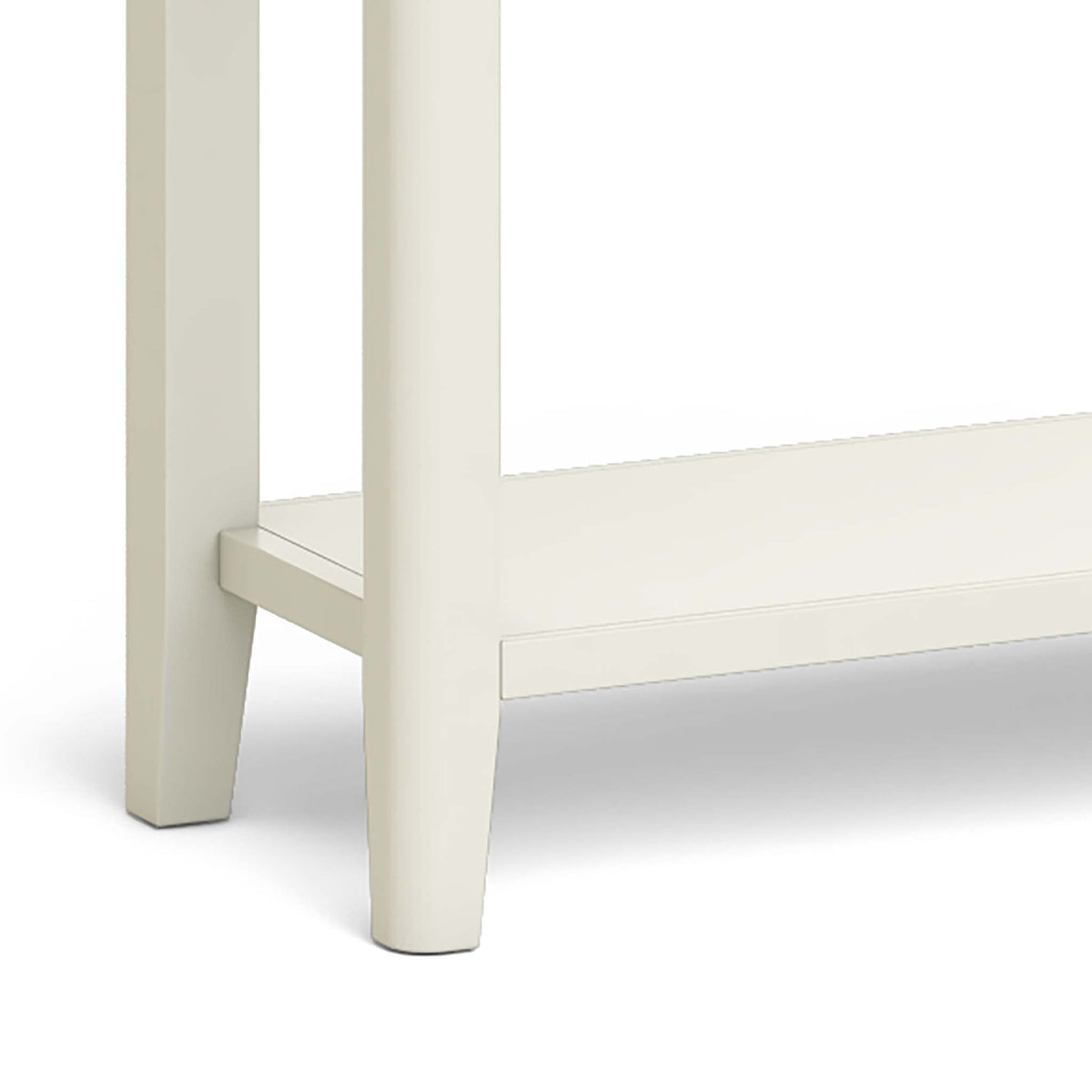 The Windsor Cream Painted Console Table with Storage Drawers - Close Up of Console Legs and Lower Shelf