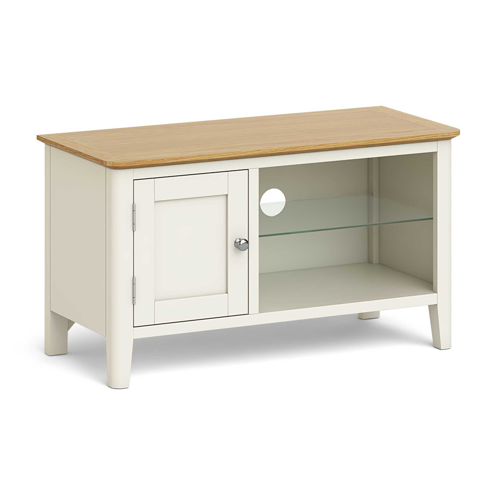 The Windsor Cream Small Oak Top TV Stand Storage Unit from Roseland Furniture