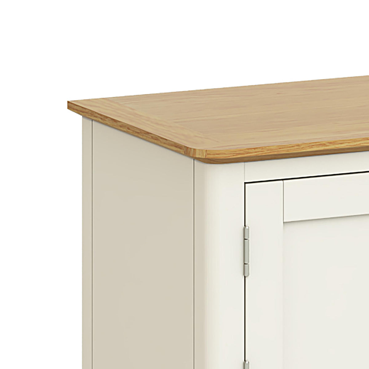 The Windsor Cream Small 90cm Oak Top TV Stand - Close Up of Oak Top