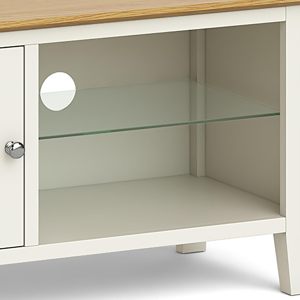 The Windsor Cream Small 90cm Oak Top TV Stand - Close Up of Glass Shelving