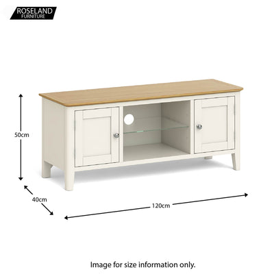 The Windsor Cream 120cm TV Stand size guide