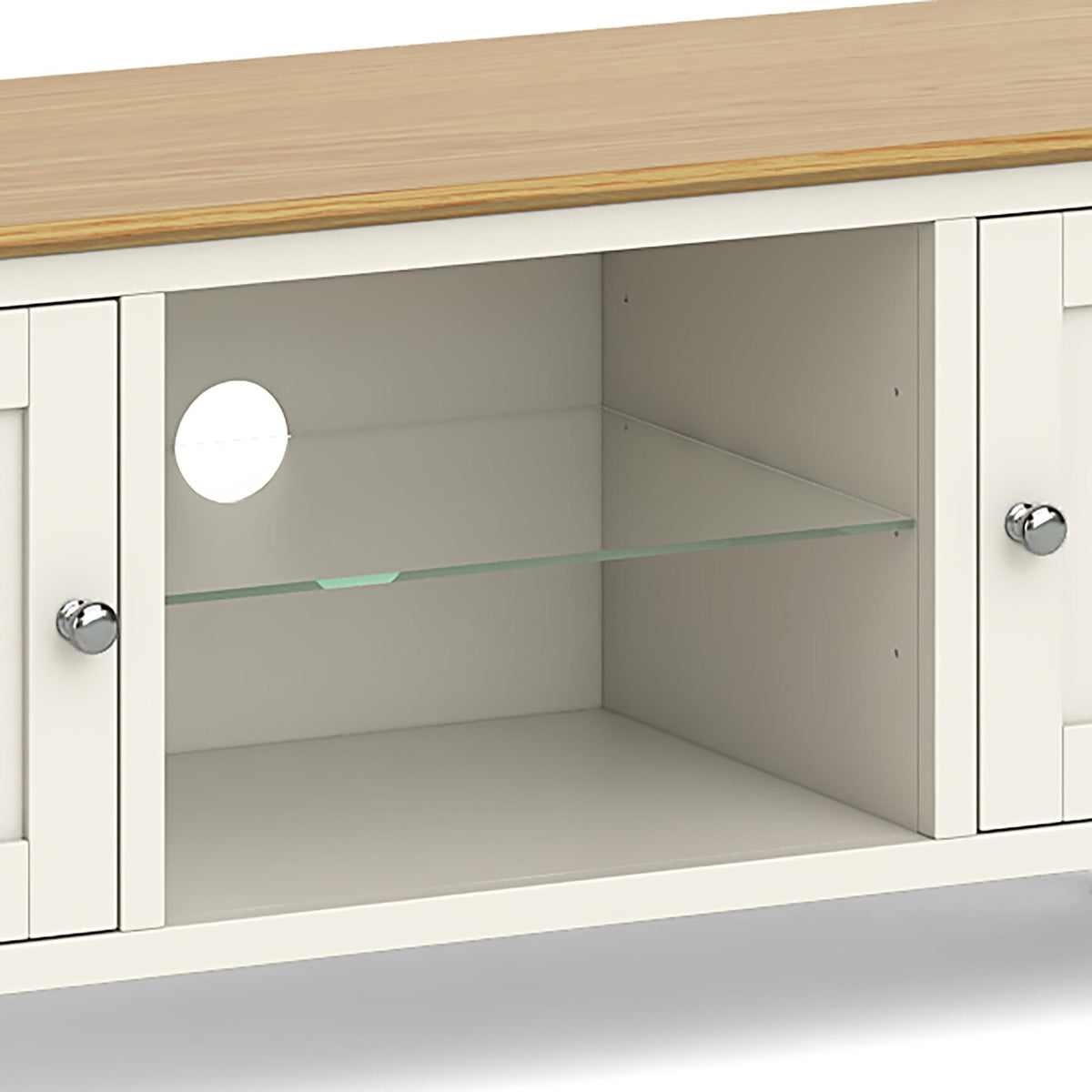 The Windsor Cream 120cm TV Stand - Close Up of Middle Glass Shelving