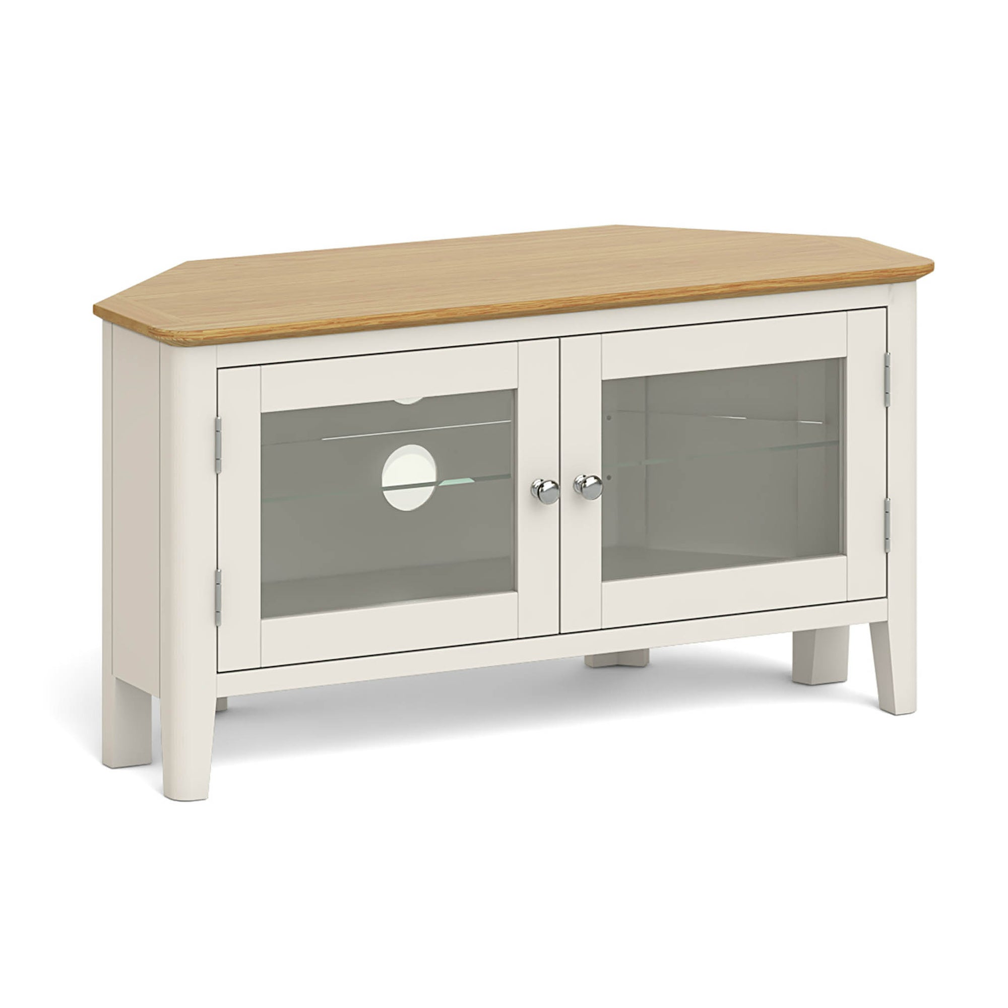 The Windsor Cream Corner TV Stand Storage Cabinet from Roseland Furniture