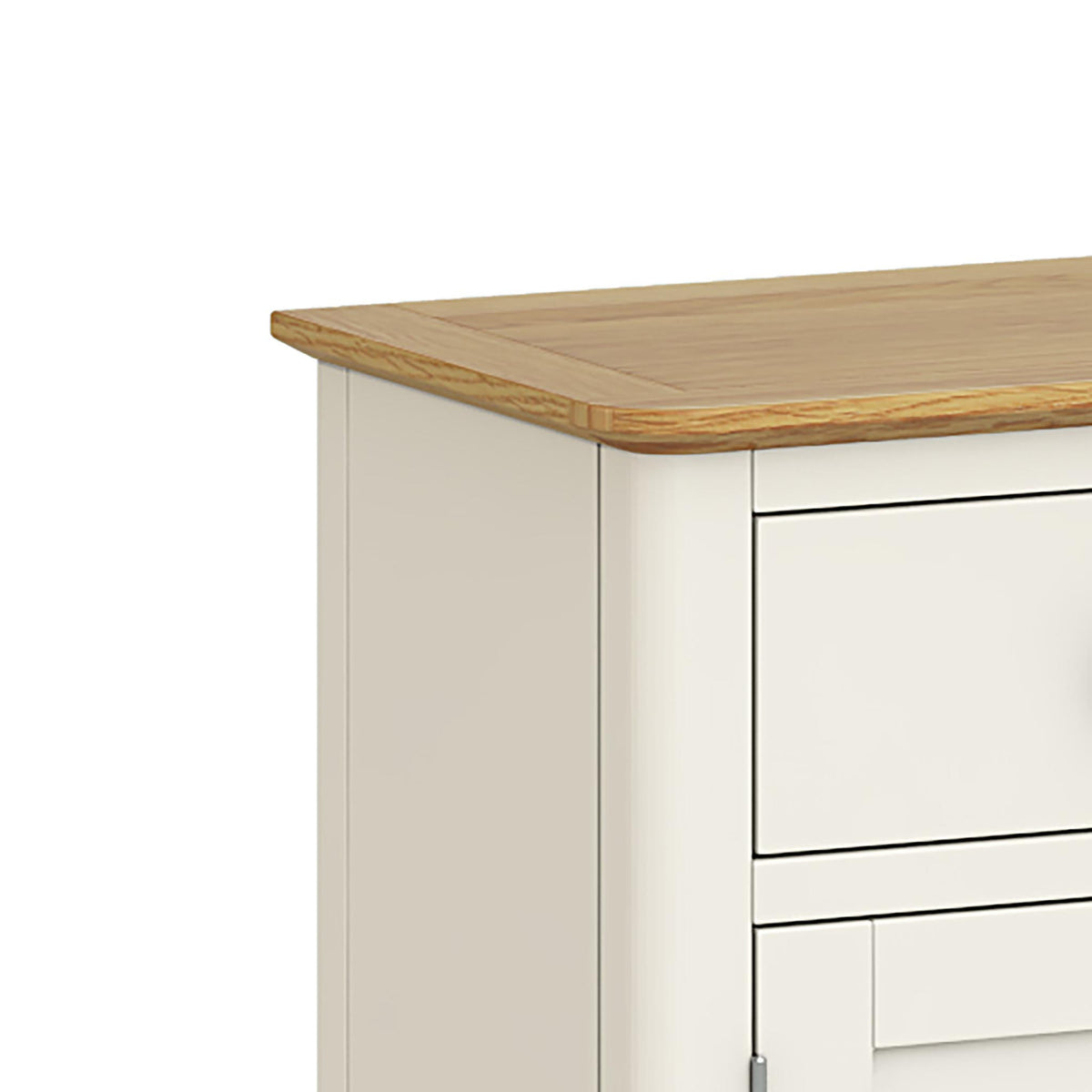 The Windsor Cream Mini Sideboard - Close Up of Oak Top