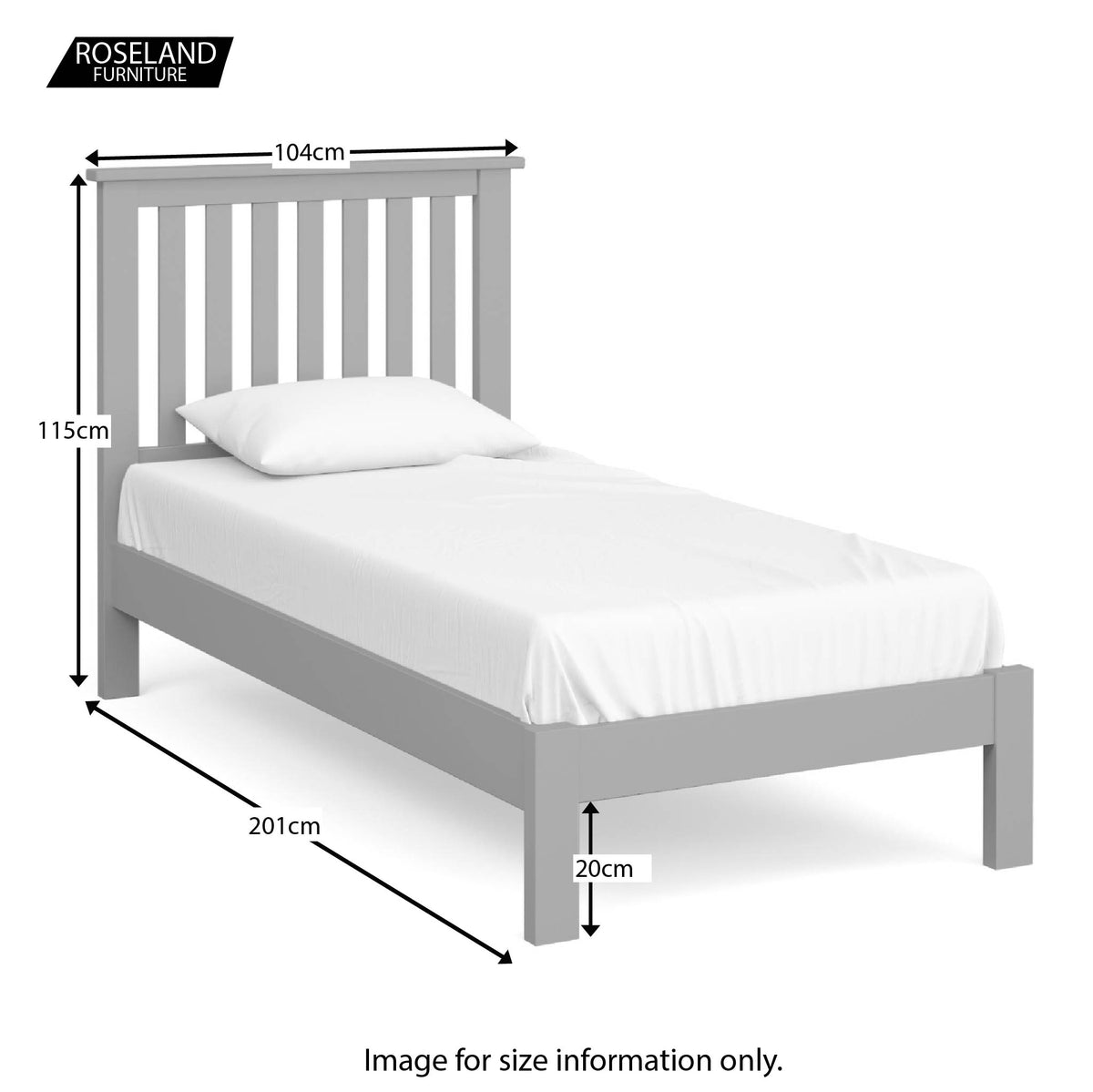 Cornish Grey 3' Single Bed Frame - Size Guide