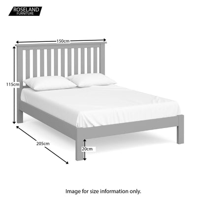 Cornish Grey Double Bed Frame - Size Guide