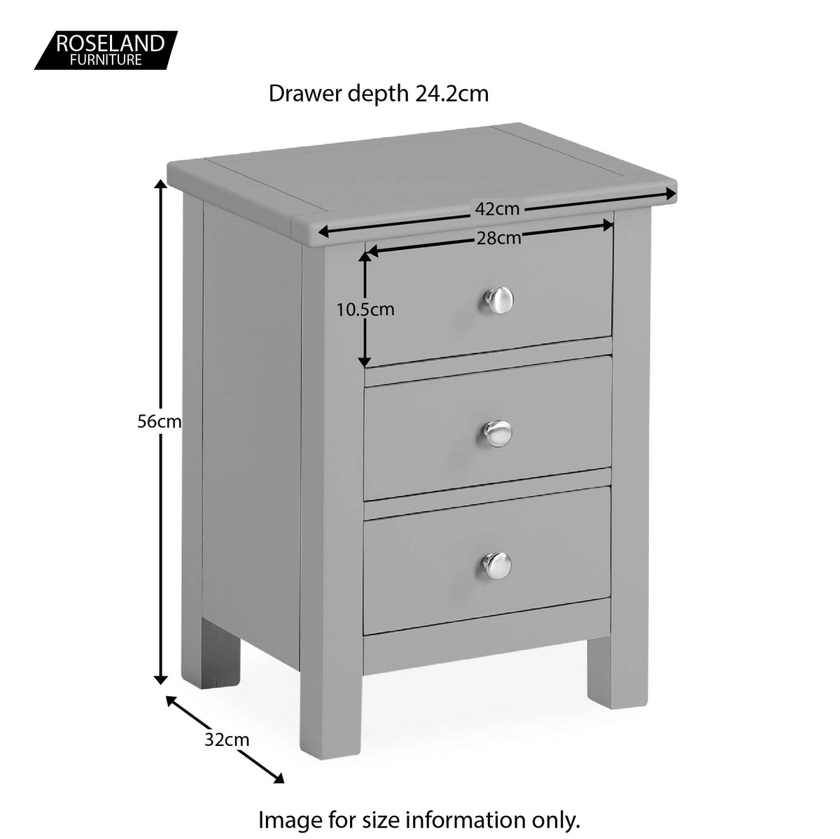 Cornish Grey 3 Drawer Bedside Table - Size Guide