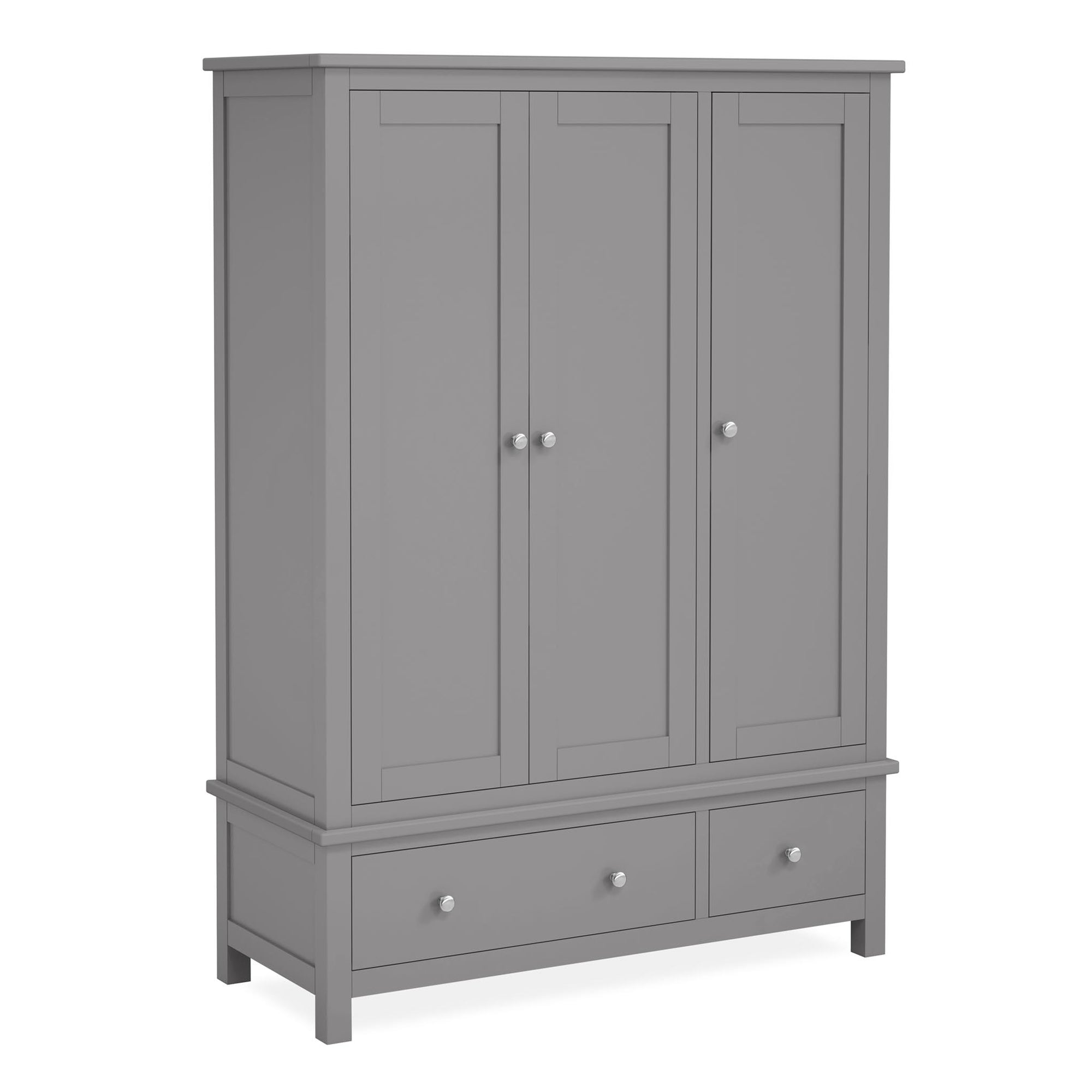 The Cornish Grey Large Wooden 3 Door Wardrobe from Roseland Furniture