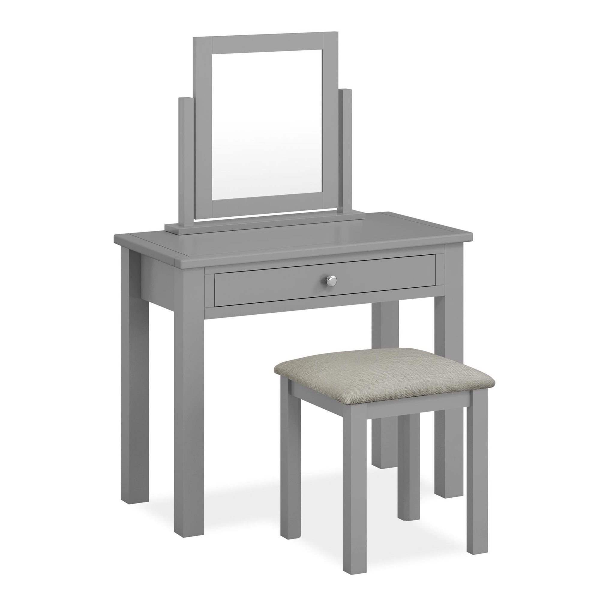 The Cornish Grey Wooden Dressing Table Set with Stool and Vanity Mirror from Roseland Furniture