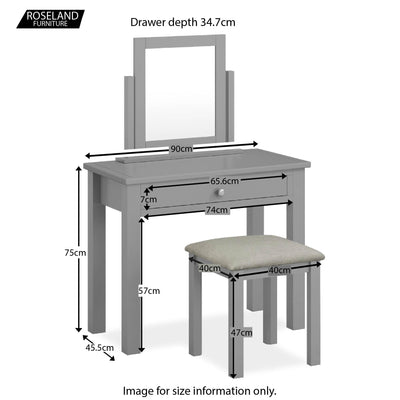 Cornish Grey Dressing Table Set - Size Guide