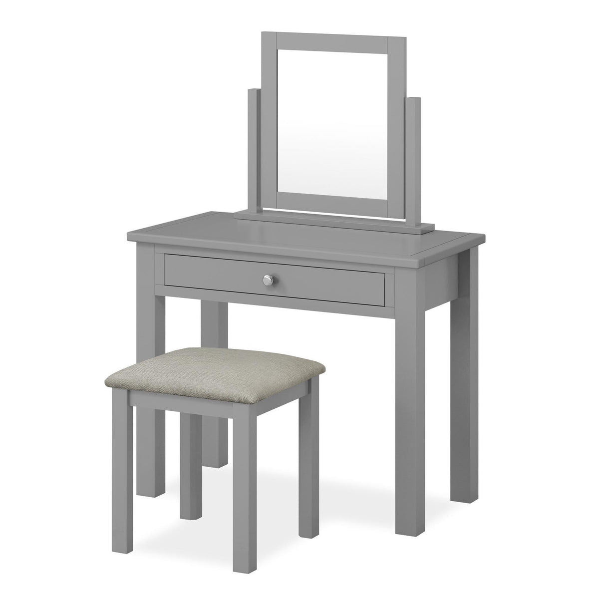 The Cornish Grey Dressing Table Set with Stool and Vanity Mirror