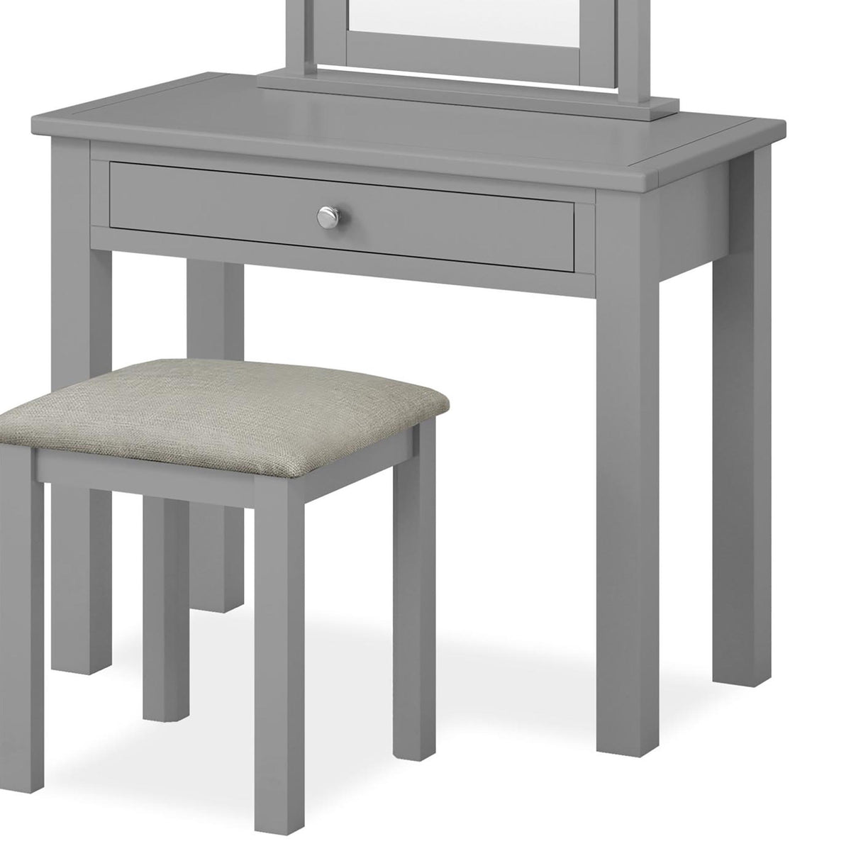 The Cornish Grey Dressing Table Set with Stool and Vanity Mirror - Close Up of  Drawer