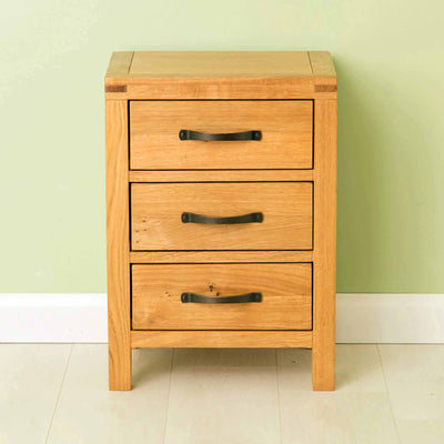 The Abbey Waxed Oak Bedroom Furniture Set 3 Drawer Bedside Table