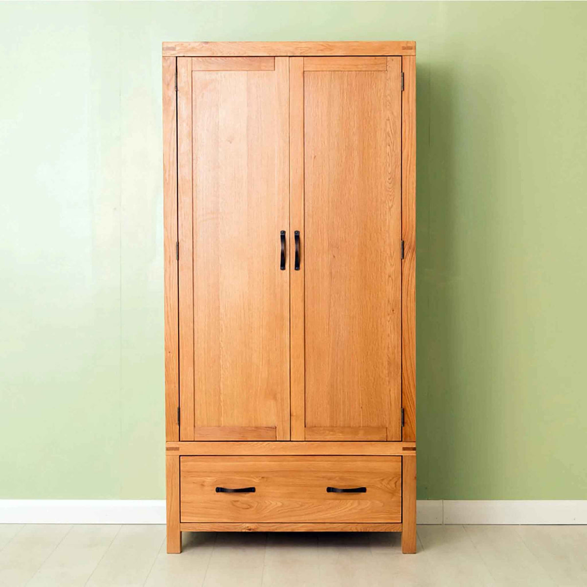 The Abbey Waxed Oak Bedroom Furniture Set 2 Door Double Wardrobe