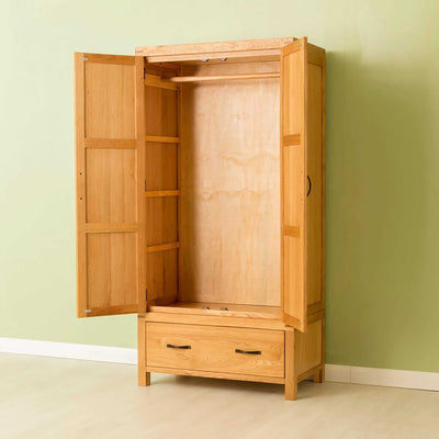 Opened door view of The Abbey Waxed Oak Bedroom Furniture Set Double Wardrobe