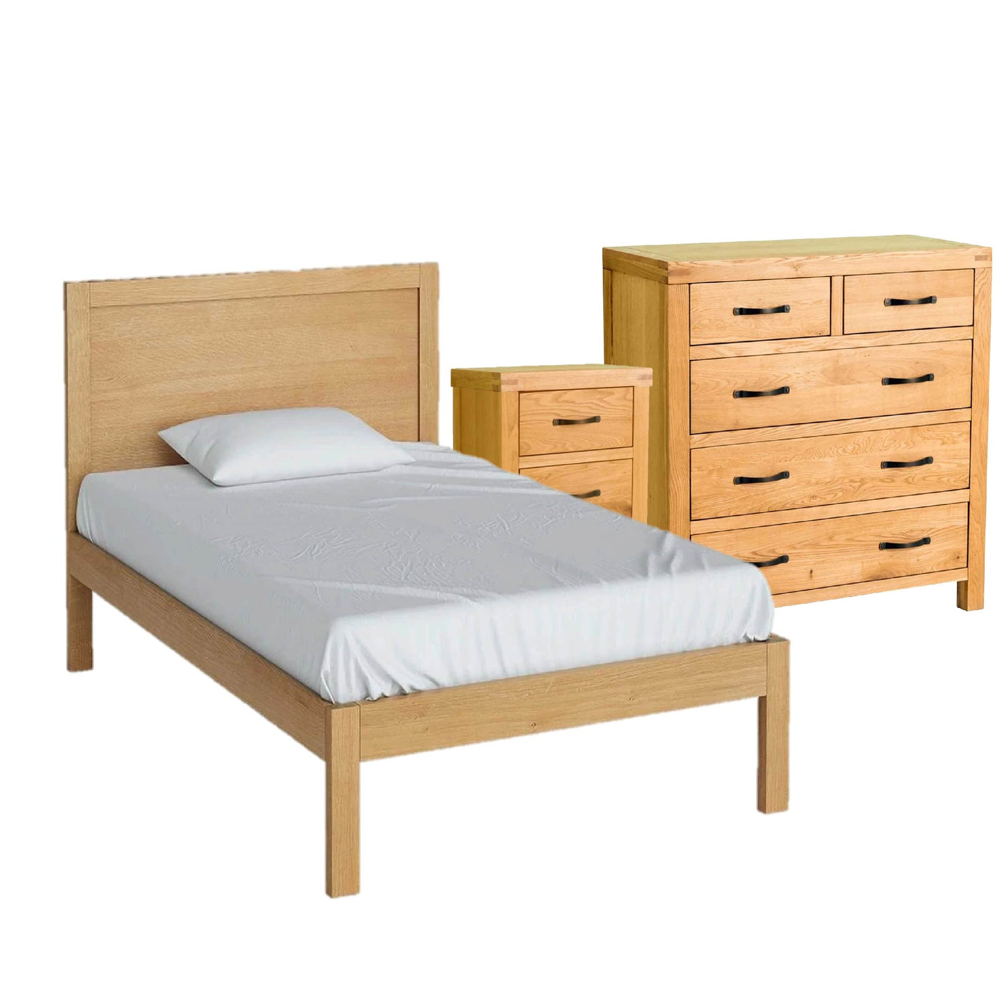 Abbey Waxed Oak 4' Small Double Bed Storage Set from Roseland Furniture