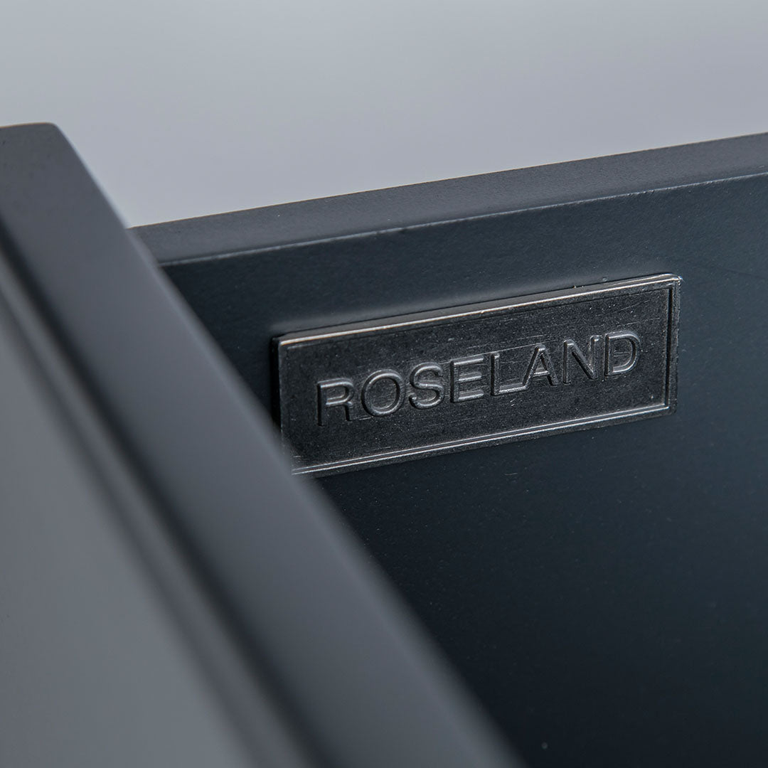Close up of the metal Roseland drawer label on the Chichester Charcoal Small Sideboard