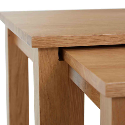 Close up of the tabletops on the Falmouth Oak Nest of Tables