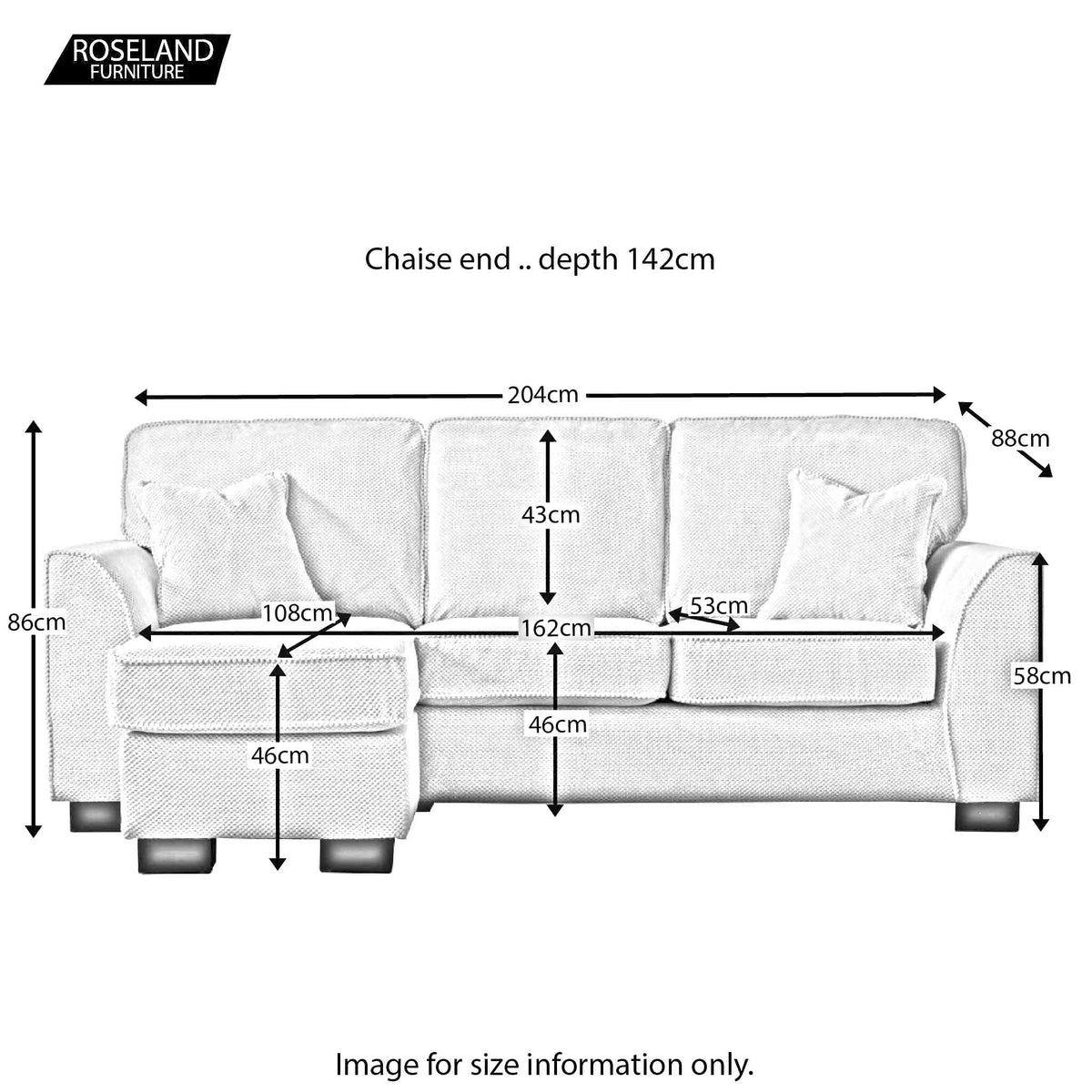 Dallas Corner Chaise Sofa - Size Guide