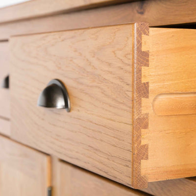 close up of dovetail joints on the Roseland Oak 3 Door Sideboard