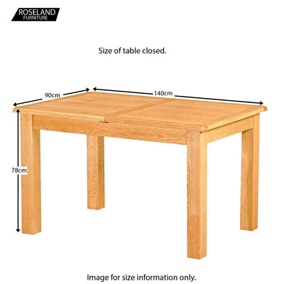 Roseland Oak Extendable Dining Table - Size Guide of Closed Table