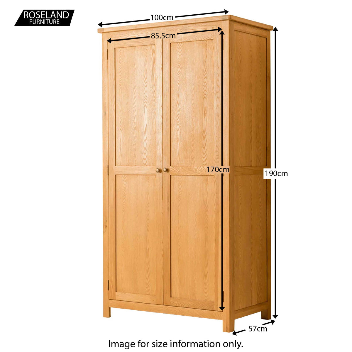 Roseland Oak Double Wardrobe - Size Guide