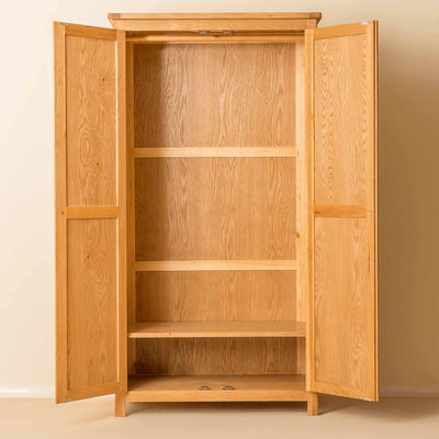 Roseland Oak Double Wardrobe with doors open