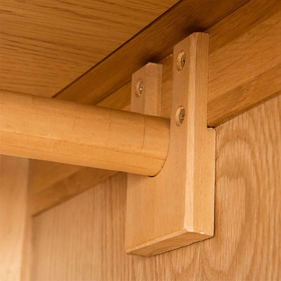 Hanging rail of Roseland Oak Double Wardrobe