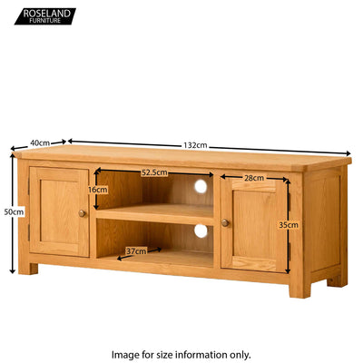 Roseland Oak 132cm TV Stand - Size Guide