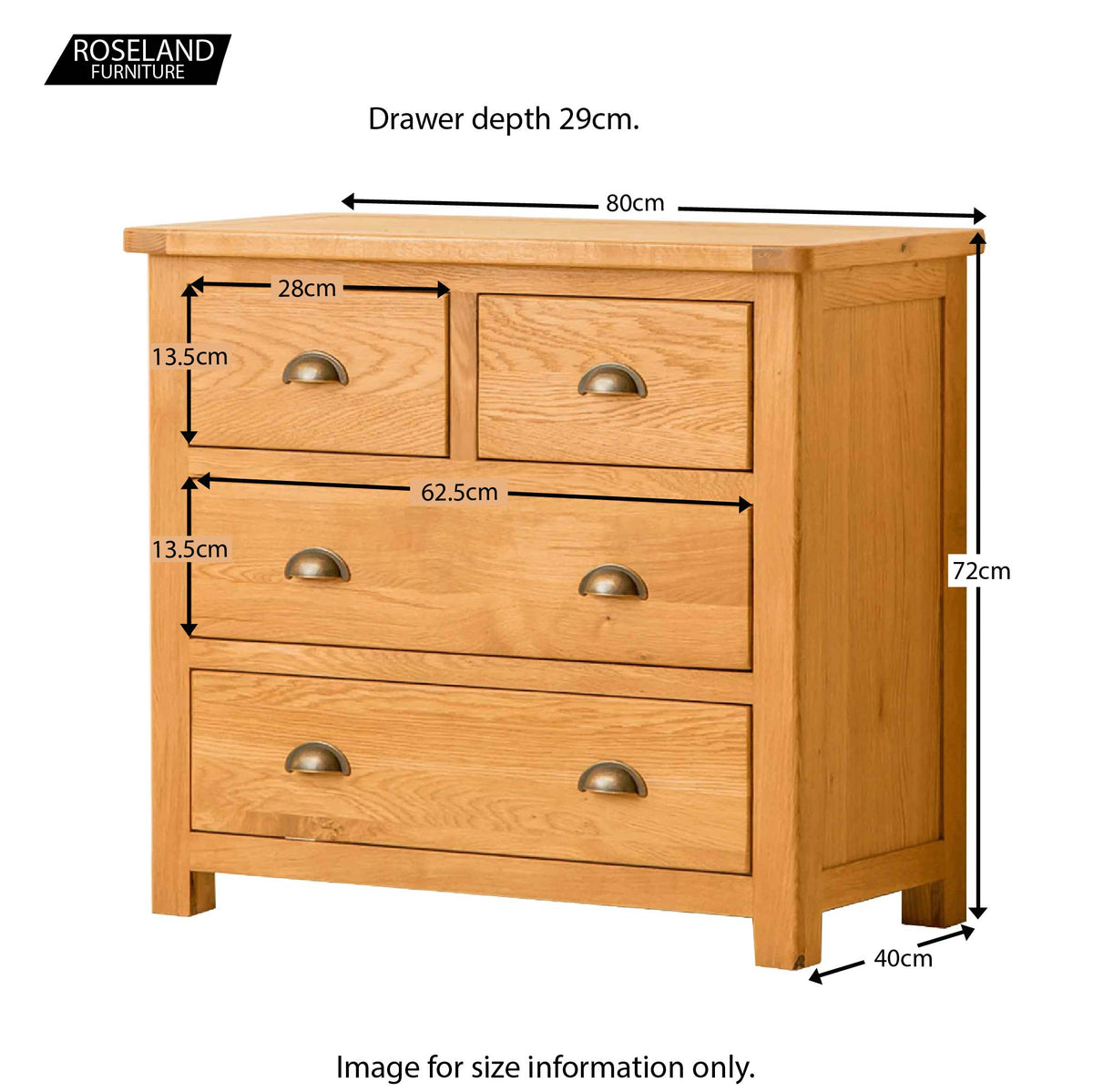 Roseland Oak 2 Over 2 Drawer Chest - Size Guide