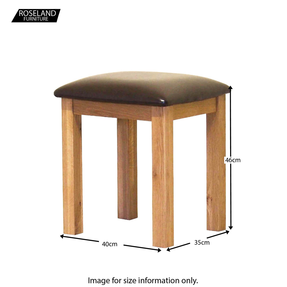 Roseland Oak Stool - Size Guide