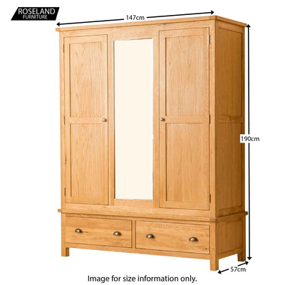 Roseland Oak Triple Wardrobe & Drawers - Size Guide