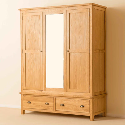 Roseland Oak Triple Wardrobe & Drawers by Roseland Furniture
