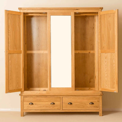 Roseland Oak Triple Wardrobe & Drawers with doors open