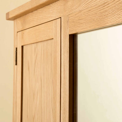 Front and mirror of Roseland Oak Triple Wardrobe & Drawers