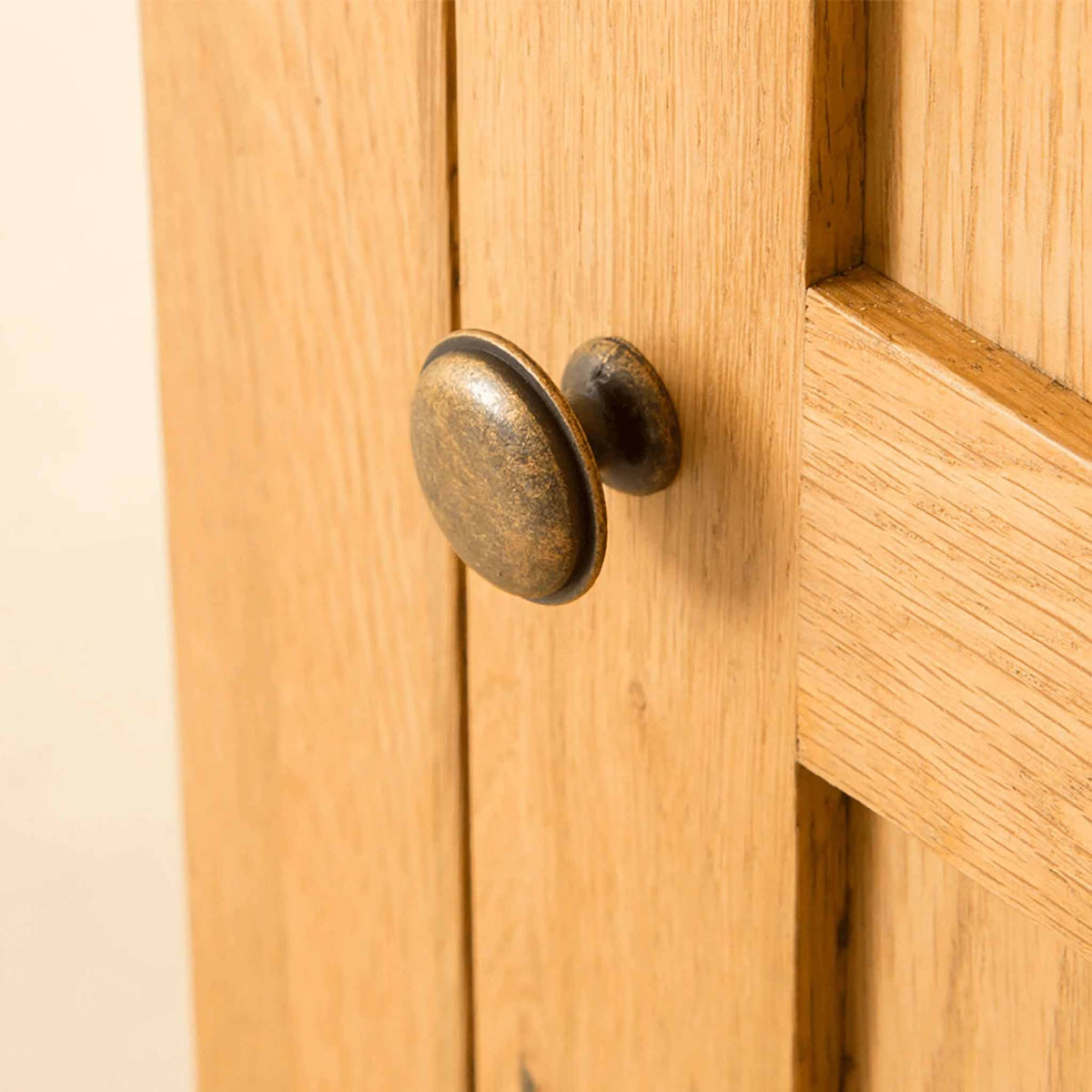 Door handle of Roseland Oak Triple Wardrobe & Drawers