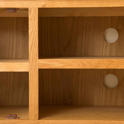 Inside cupboard of Roseland Oak 100cm TV Stand