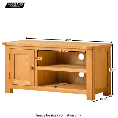 Roseland Oak 100cm TV Stand - Size Guide