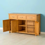 Nordic Oak 3 Door 3 Drawer Sideboard with doors open